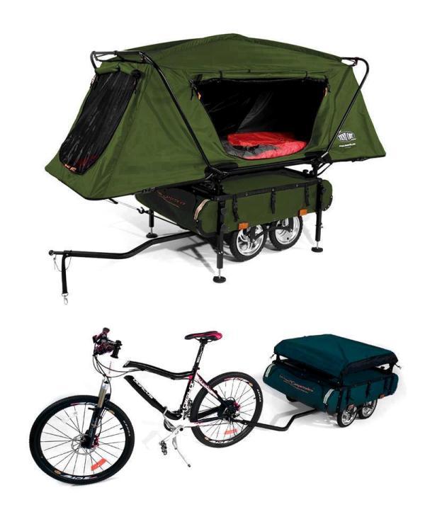 Un remolque de bicicleta con tienda de campaña
