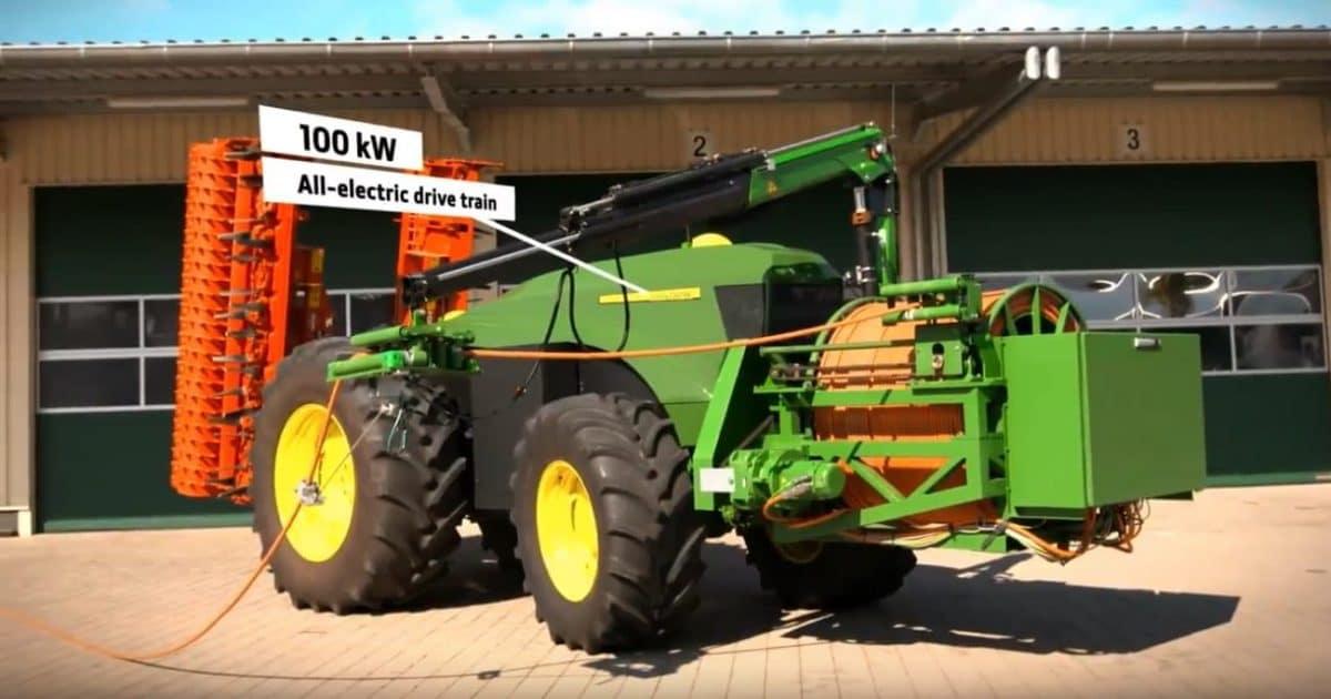 Un tractor John Deere autónomo eléctrico y sin baterías