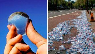 Cápsulas de agua biodegradables y comestibles en lugar de botellas de plástico en el Maratón de Londres