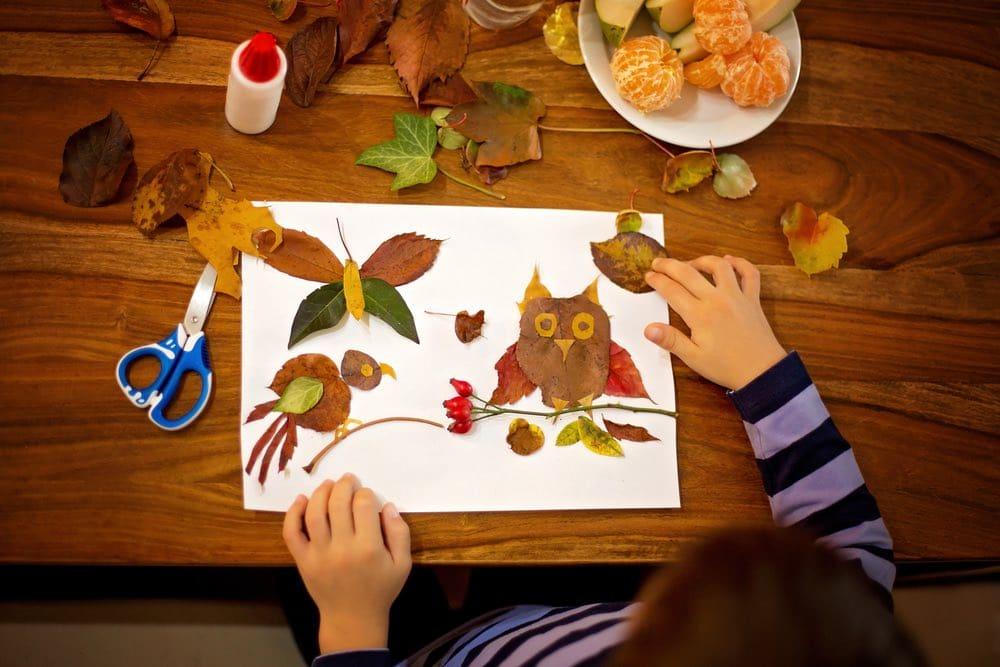 Manualidades con hojas secas.