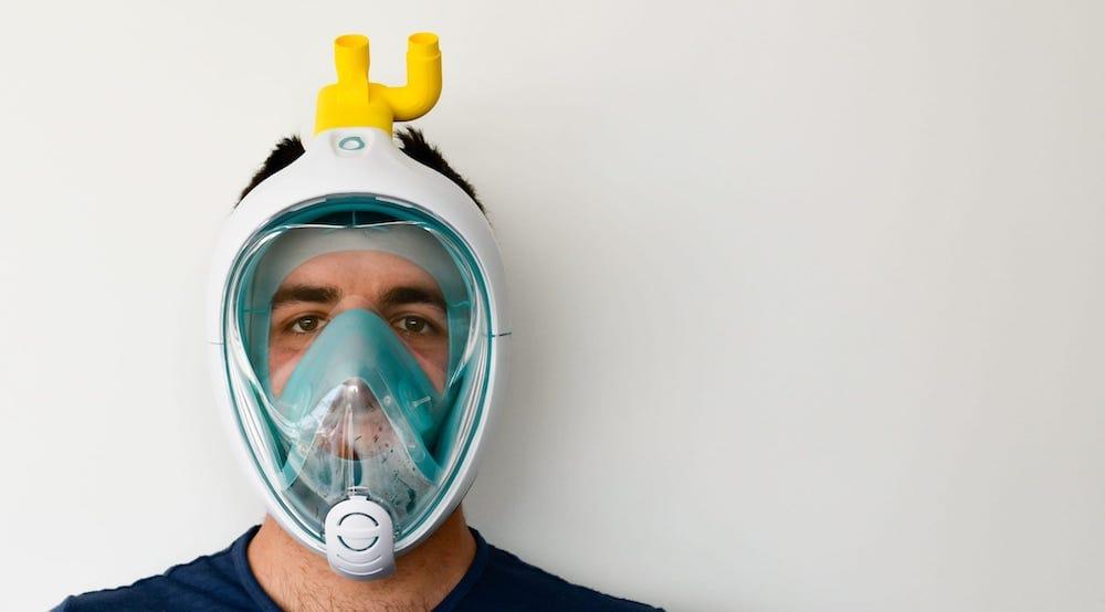 MÁSCARA DE SNORKEL como máscaras de emergencia para los ventiladores de hospitales