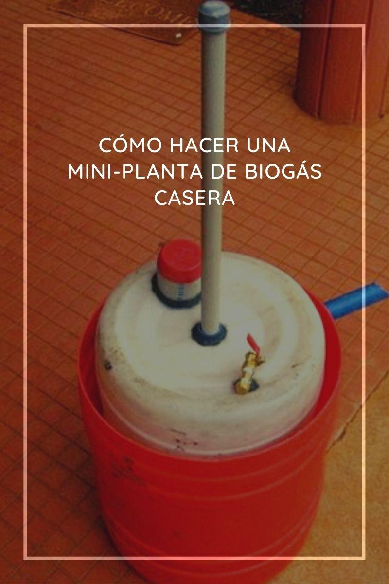 Mini-planta de biogás casera que usa residuos de alimentos y material orgánico biodegradable